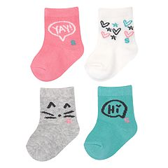 Baby / Toddler Girl Jumping Beans® 4-pk. Slogan Crew Socks