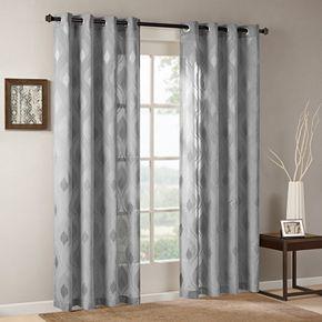 Madison Park 1-Panel Elin Sheer Ogee Jacquard Window Curtain