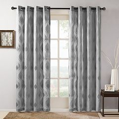 Madison Park 1-Panel Elin Sheer Ogee Jacquard Window Curtain