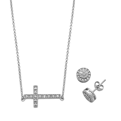 Sterling Silver 1/5 Carat T.W. Diamond Sideways Cross Necklace & Halo Stud Earring Set