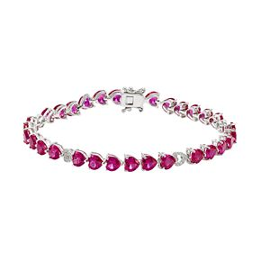 Sterling Silver Lab-Created Ruby & White Sapphire Heart Bracelet