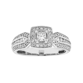 14k White Gold 3/4 Carat T.W. IGL Certified Diamond Halo Engagement Ring