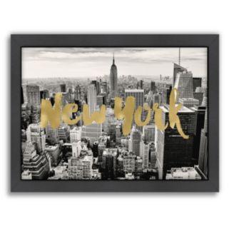 """Americanflat """"New York Skyline"""" Framed Wall Art"""