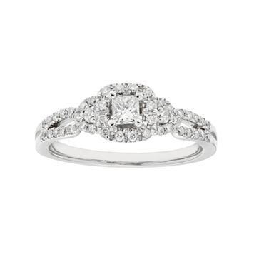 10k White Gold 1/2 Carat T.W. IGL Certified Diamond Halo Engagement Ring