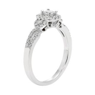 10k White Gold 1/2 Carat T.W. IGL Certified Diamond Halo Engagement Ring