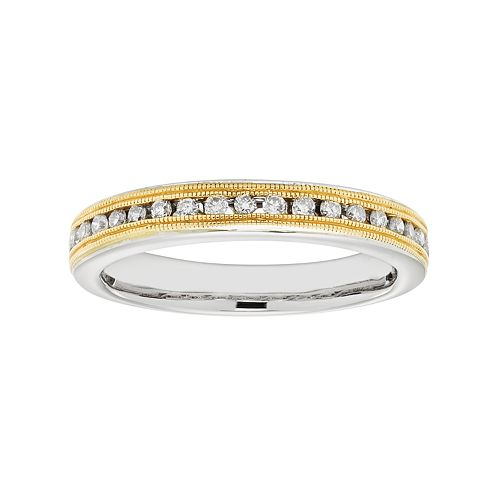 Two Tone 14k Gold 1/4 Carat T.W. IGL Certified Diamond Wedding Ring