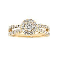14k Gold 1 Carat T.W. IGL Certified Diamond Halo Engagement Ring