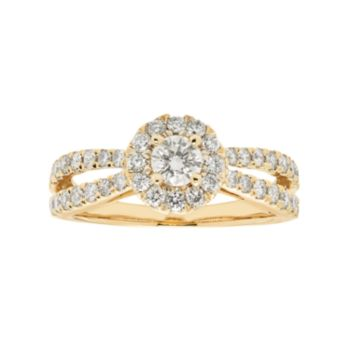 14k Gold 1 Carat T.W. IGL Certified Diamond Halo Engagement Ring