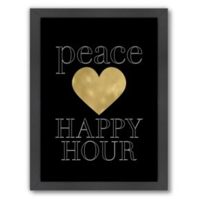 """Americanflat """"Peace Love Happy Hour"""" Framed Wall Art"""