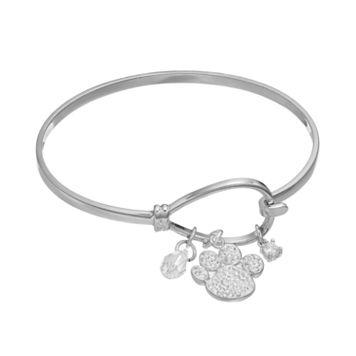 Cubic Zirconia Paw Print Charm Bracelet