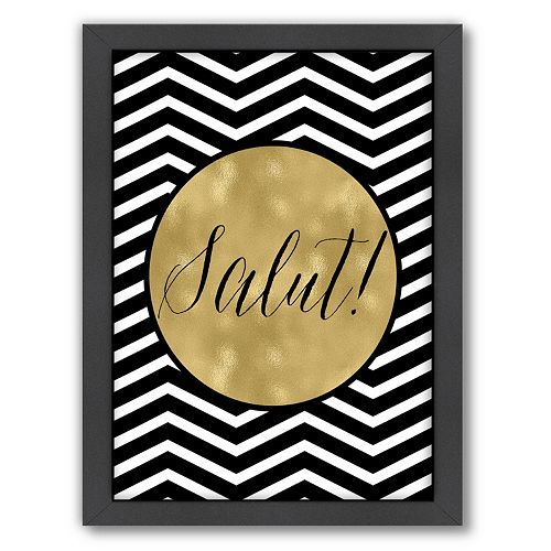 "Americanflat Chevron ""Salut"" Framed Wall Art"