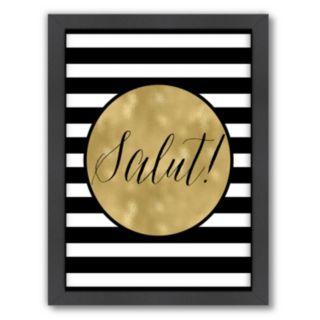 "Americanflat Stripe ""Salut"" Framed Wall Art"