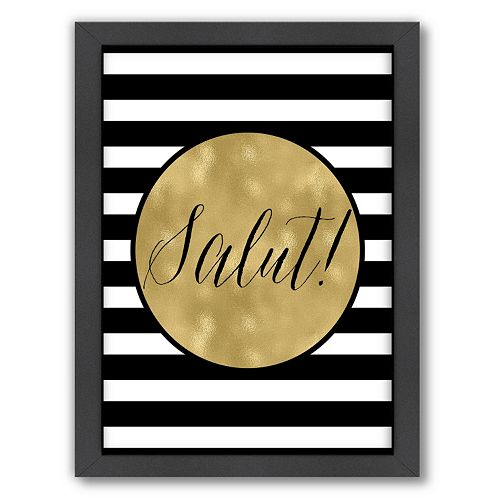 "Americanflat Stripe ""Salut"" Framed Wall Art"