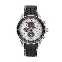 Seiko Men's Sportura Leather Solar Chronograph Watch - SSC359