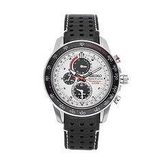 Seiko Men's Sportura Leather Solar Chronograph Watch - SSC359