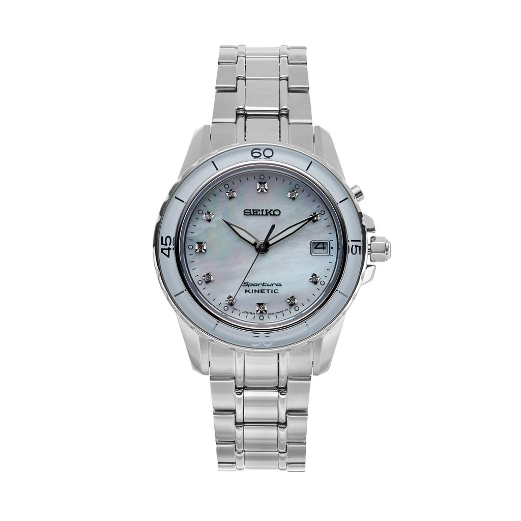 Seiko Women's Sportura Diamond Stainless Steel Kinetic Watch - SKA881
