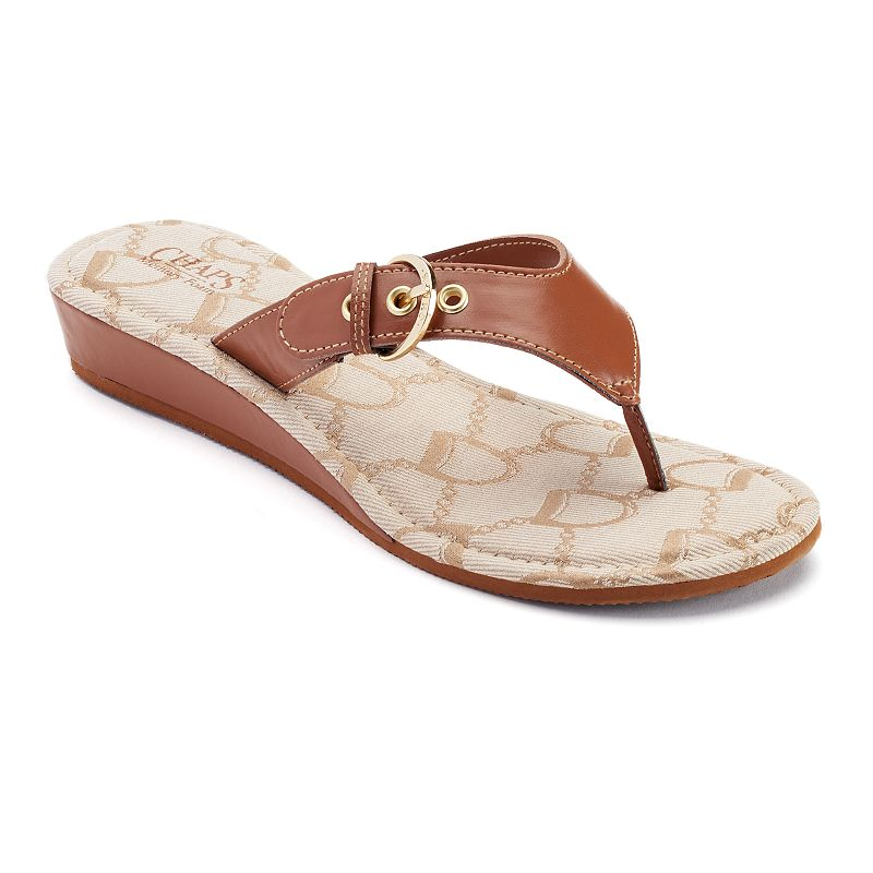 Chaps Women's Signature Thong Wedge Sandals