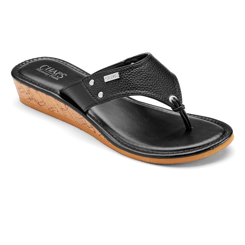 Chaps Women's Wedge Thong Sandals