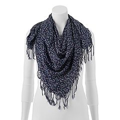 Keds Patterned Sheer Fringed Square Scarf by