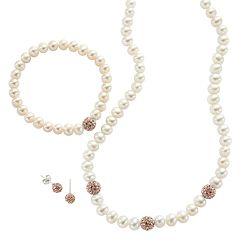 PearLustre by Imperial Sterling Silver Freshwater Cultured Pearl & Crystal Jewelry Set