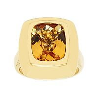 14k Gold Over Silver Citrine Ring
