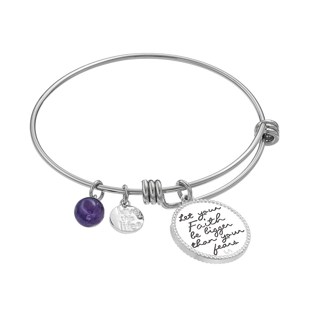 love this life Amethyst & Crystal Angel Wing Charm Bangle Bracelet