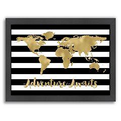 Americanflat World Map 'Adventure Awaits' Framed Wall Art