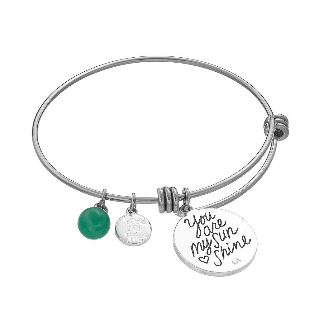 love this life Aventurine & Crystal Sun Charm Bangle Bracelet