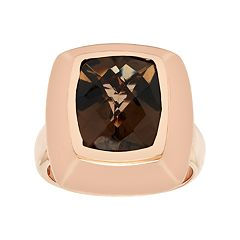 14k Rose Gold Over Silver Smoky Quartz Ring