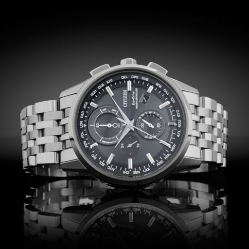 Citizen Eco-Drive Men's World A-T Stainless Steel Chronograph Watch - AT8110-53E