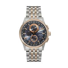 Citizen Eco-Drive Men's World A-T Two Tone Stainless Steel Chronograph Watch - AT8116-57E