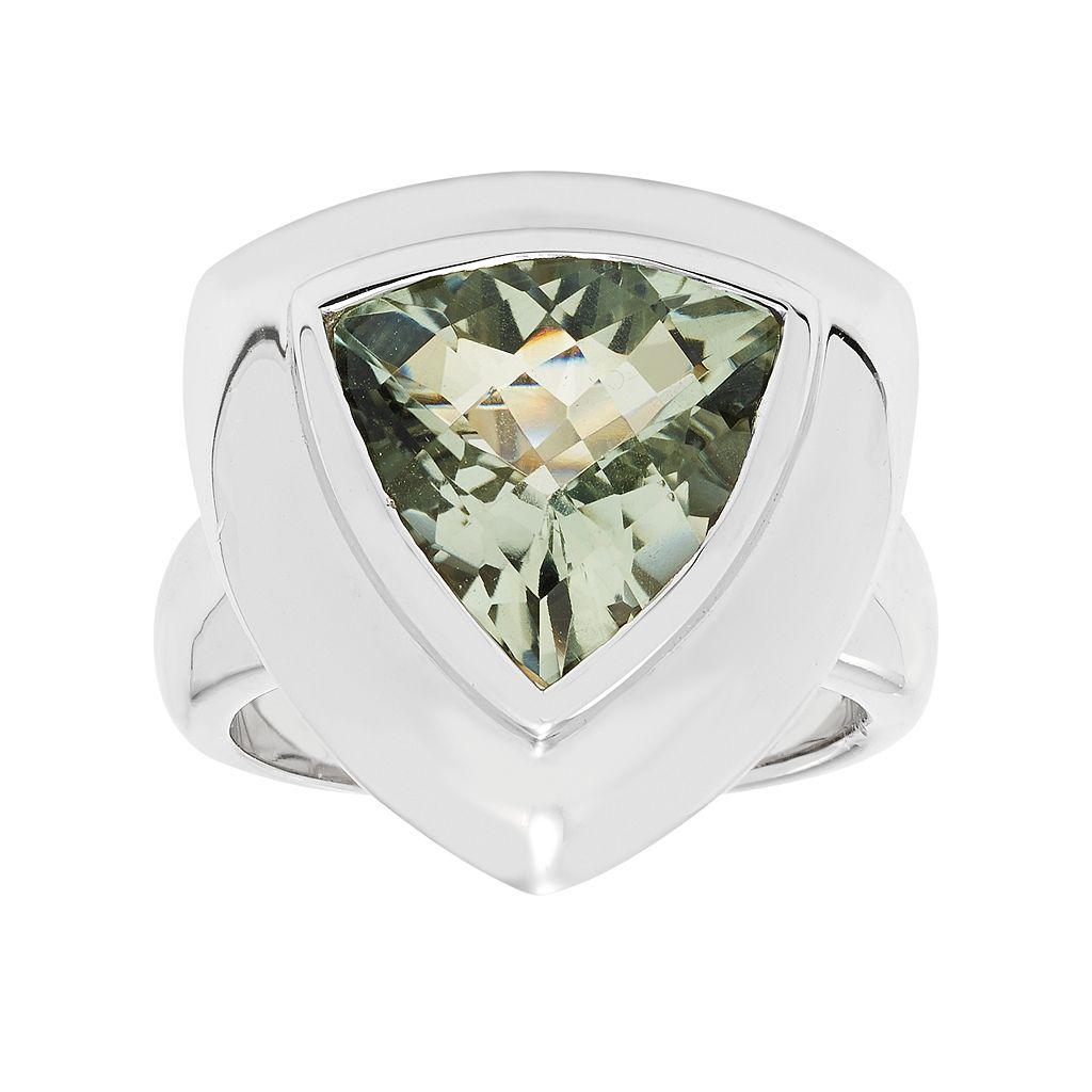 Sterling Silver Green Quartz Ring