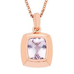 14k Rose Gold Over Silver Rose de France Amethyst Pendant Necklace