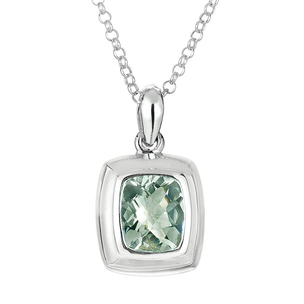 Sterling Silver Green Quartz Pendant Necklace