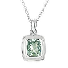 Sterling Silver Green Quartz Pendant Necklace