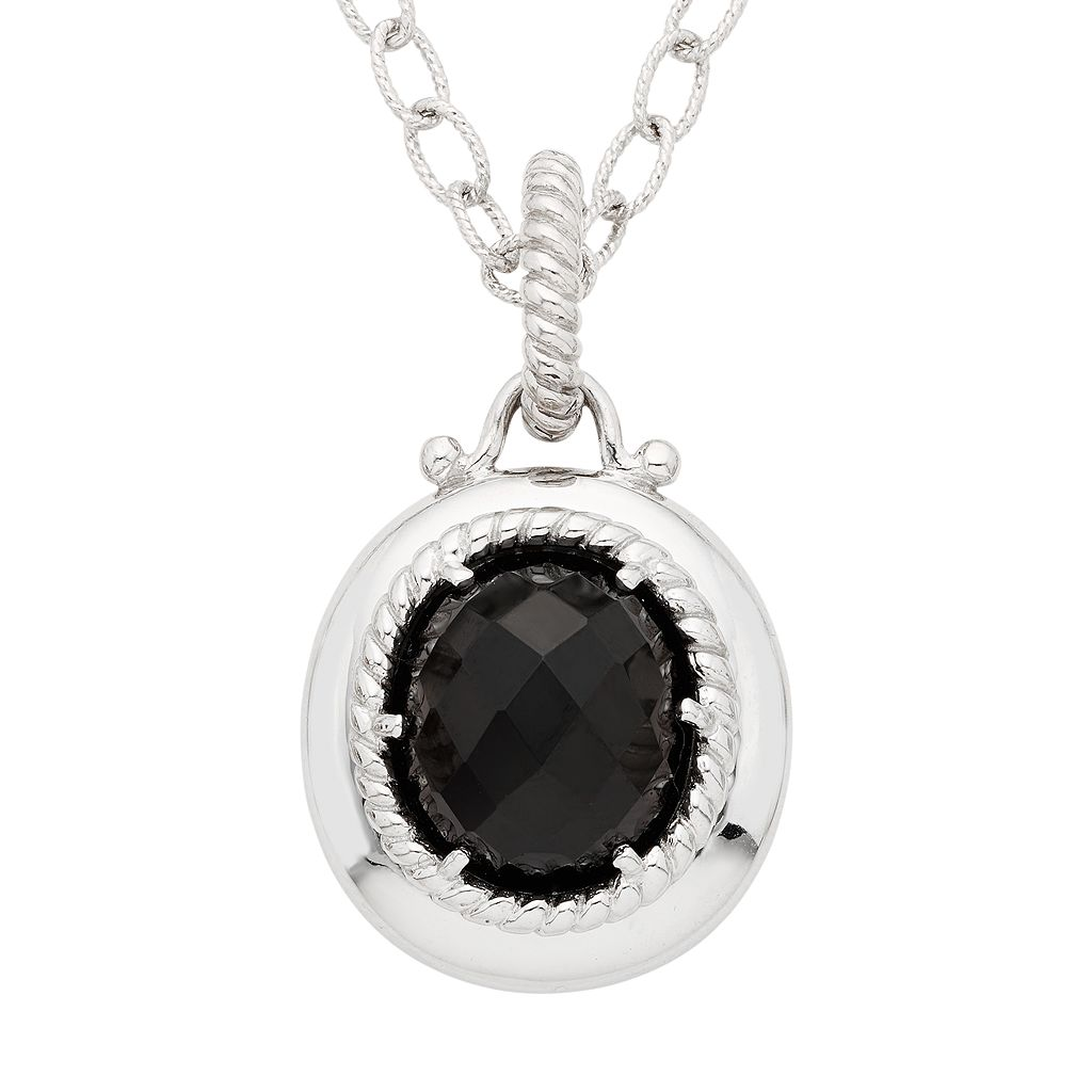 Sterling Silver Onyx Pendant Necklace