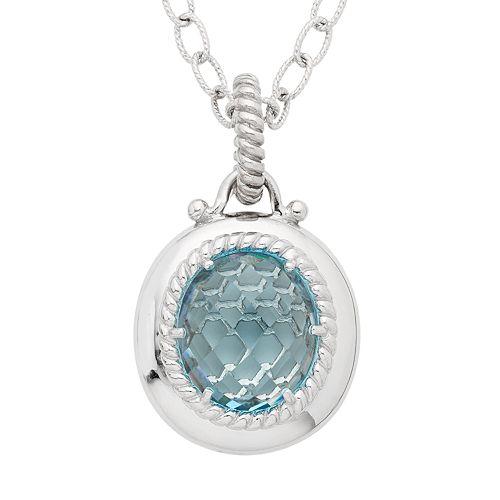 Sterling Silver Blue Topaz Pendant Necklace