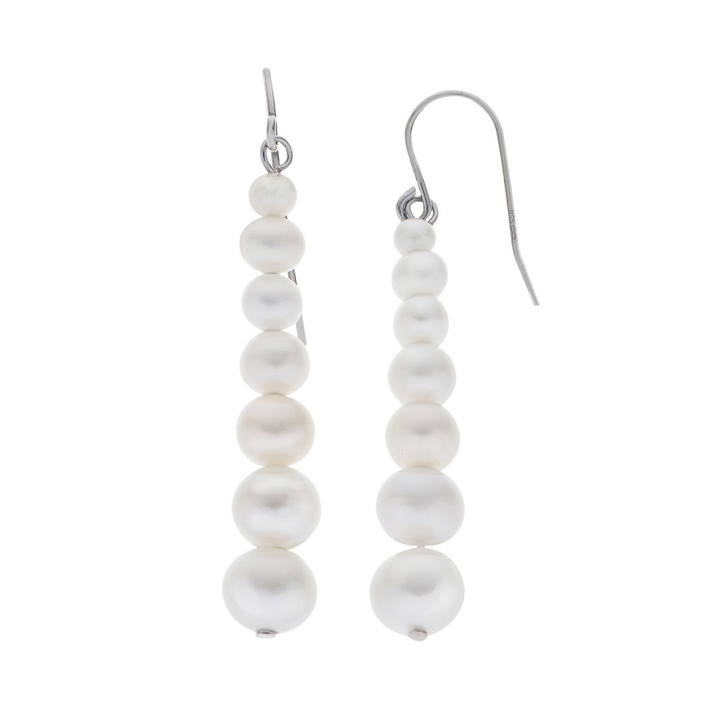 PearLustre by Imperial Sterling Silver Freshwater Cultured Pearl Linear Drop Earrings