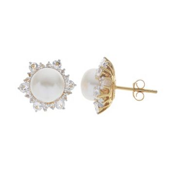 PearLustre by Imperial 14k Gold Over Silver Freshwater Cultured Pearl Stud Earrings