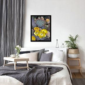 Americanflat ''Purple Prickly Pear Cactus Blossoms'' Framed Wall Art