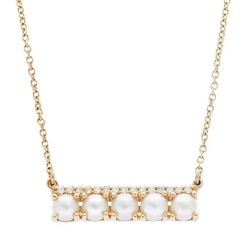 PearLustre by Imperial 14k Gold Freshwater Cultured Pearl & Diamond Accent Bar Necklace