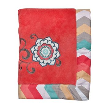 Waverly Baby by Trend Lab Pom Pom Floral Coral Fleece Blanket by Trend Lab