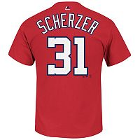 Men's Majestic Washington Nationals Max Scherzer Player Name and Number Tee