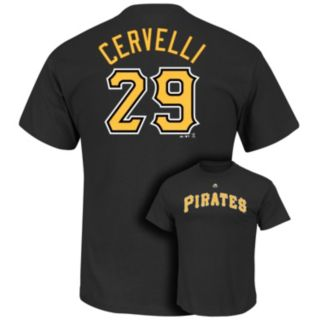 Men's Majestic Pittsburgh Pirates Francisco Cervelli Player Name and Number Tee