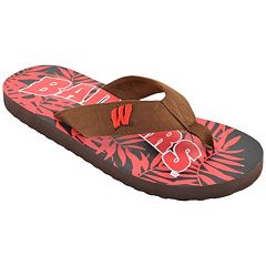 Men's Wisconsin Badgers Tropical Flip-Flops