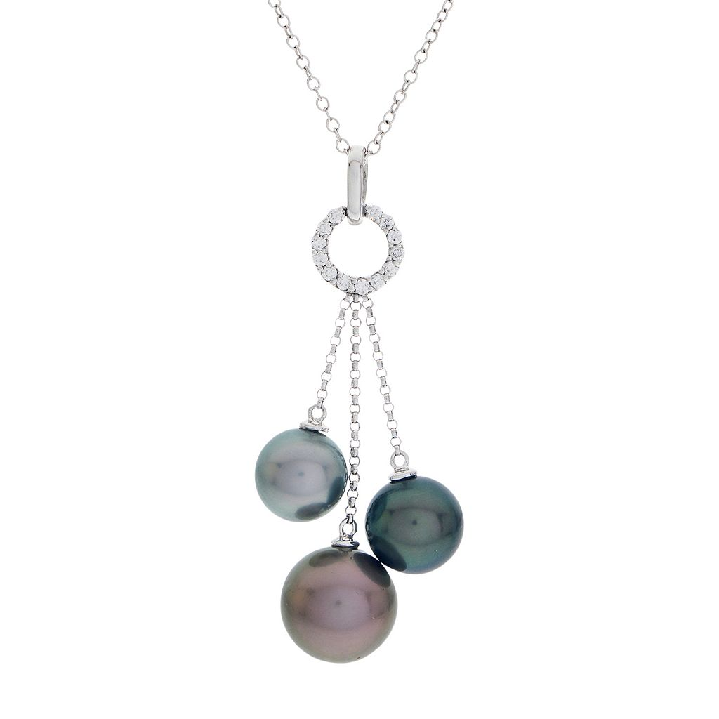 PearLustre by Imperial 14k White Gold Tahitian Cultured Pearl & 1/6 Carat T.W. Diamond Pendant