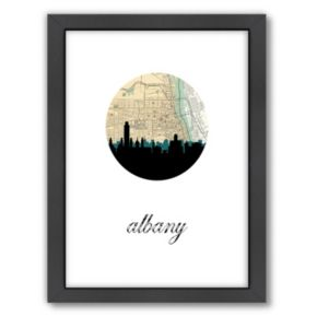 """Americanflat """"Albany Map Skyline"""" by PaperFinch Framed Wall Art"""