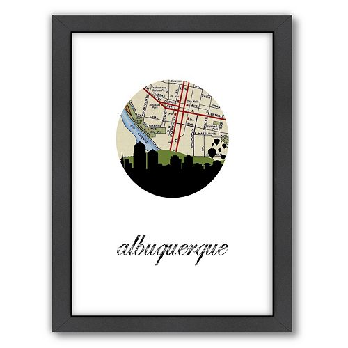 "Americanflat ""Albuquerque Map Skyline"" by PaperFinch Framed Wall Art"