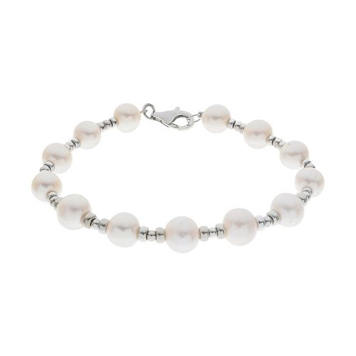 PearLustre by Imperial Sterling Silver Freshwater Cultured Pearl Station Bracelet