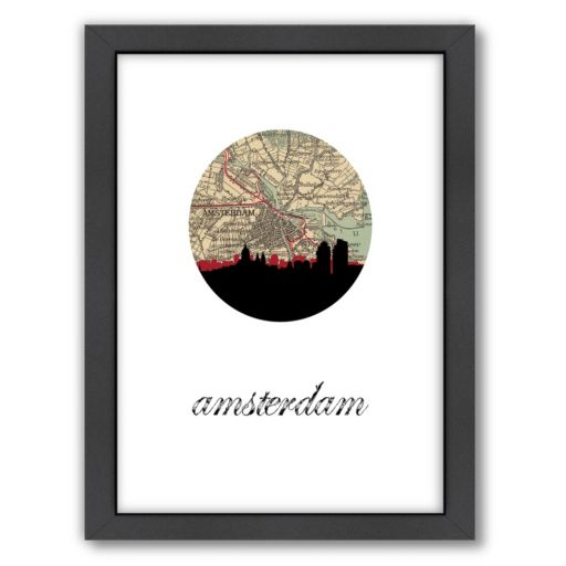 """Americanflat """"Amsterdam Map Skyline"""" by PaperFinch Framed Wall Art"""